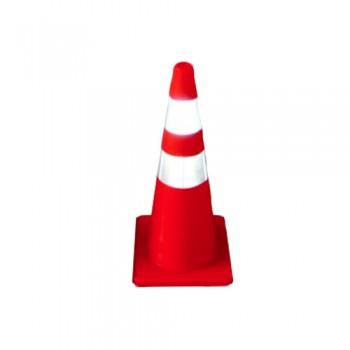 Cone Sinalização PVC 90 cm 2 Fitas Reflectoras Palanca
