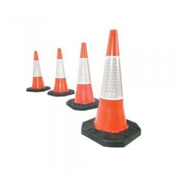 Cone Sinalização PVC 75 cm c/ 1 Banda Pintada e Base Preta