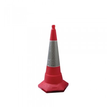 Cone Sinalização PVC 75 cm Pintado FR Base Hexagonal Areia